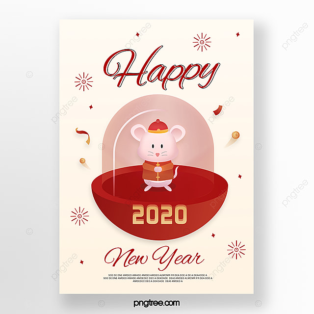 Red Minimalist 2020 New Year Mouse Creative Poster