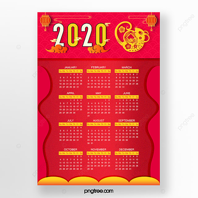 red 2020 new year rat year chinese new year calendar