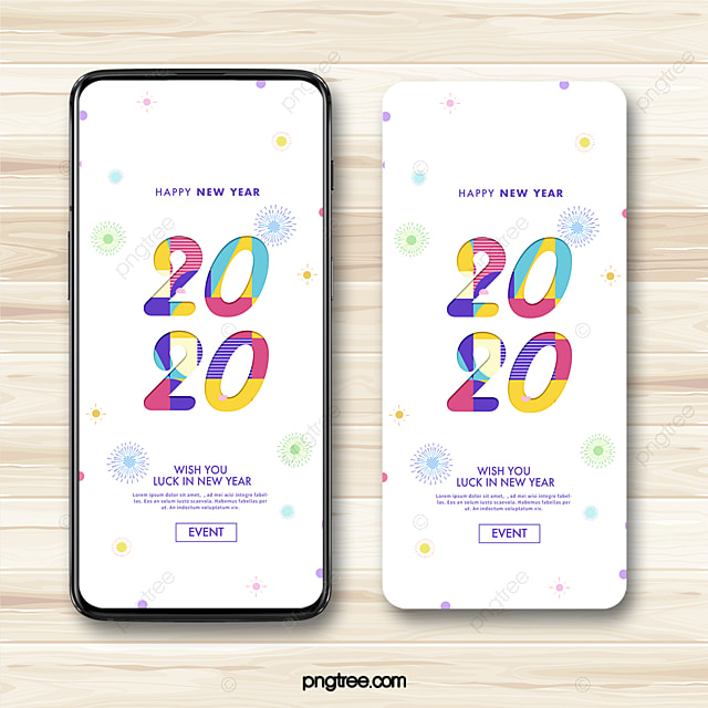 2020 new year wishes firework color festive celebration mobile phone template