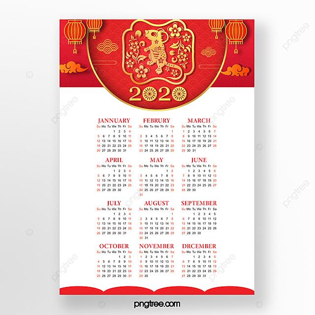 2020 rat year new year red calendar annual calendar