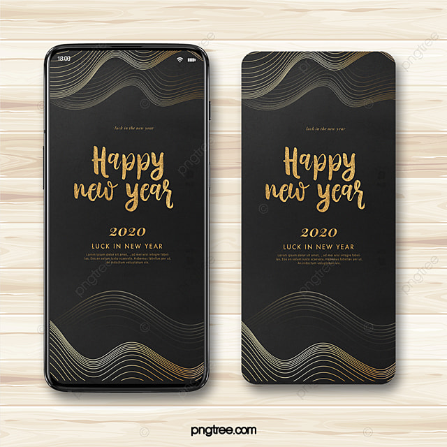 black gold mood wave line happy new year 2020 blessing mobile phone template