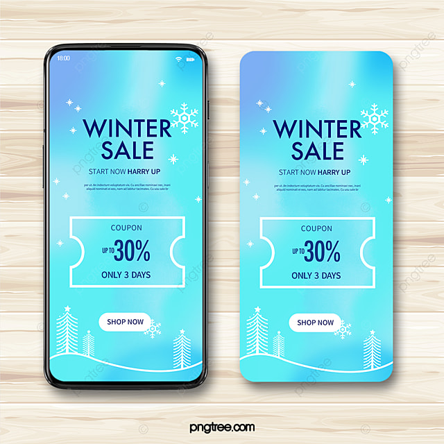 blue fantasy snowflake discount coupon mobile promotion template