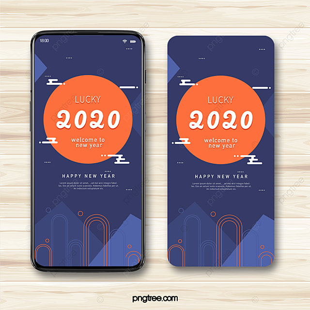 blue geometric lines 2020 new year blessing festive atmosphere mobile template