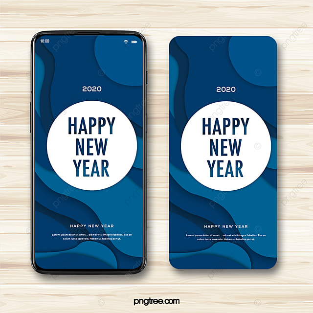 blue paper cut style background 2020 new year wishes mobile phone template