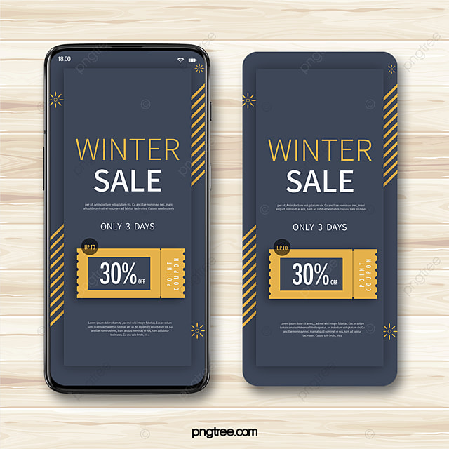 blue winter geometric snowflake coupon mobile phone illustration promotion template
