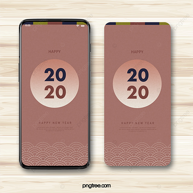chinese style 2020 new year wishes wave pattern simple mobile phone template