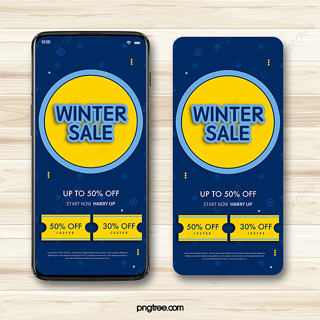 dark blue geometric style winter promotion coupon mobile template