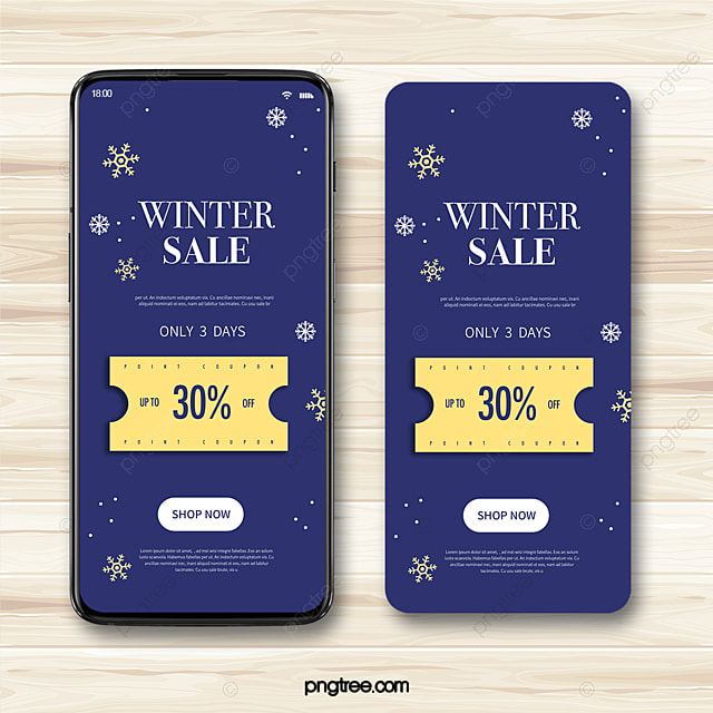 dark blue simple snowflake winter discount coupon mobile promotion template