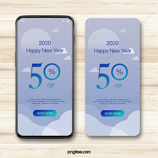 gradient geometric simple offer discount 2020 new year mobile promotion template