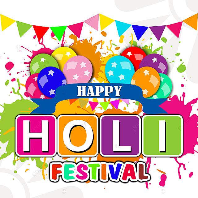 happy holi festival color balloon party