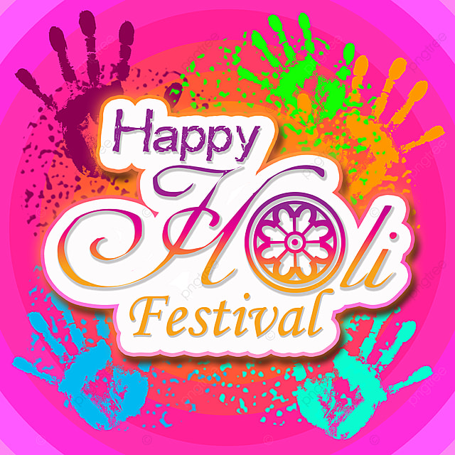 happy holi festival color hand background pink