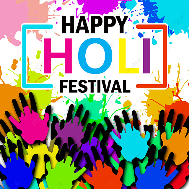 happy holi festival color hand