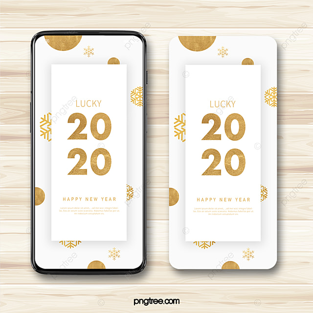 new year festive atmosphere snowflake gold foil 2020 new year blessing mobile phone template