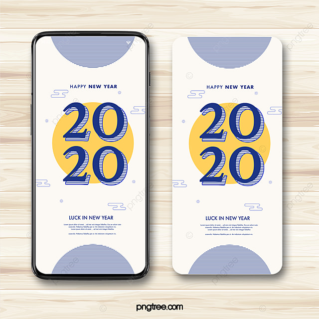 2020 new year wishes chinese style geometric line minimalist mobile phone template