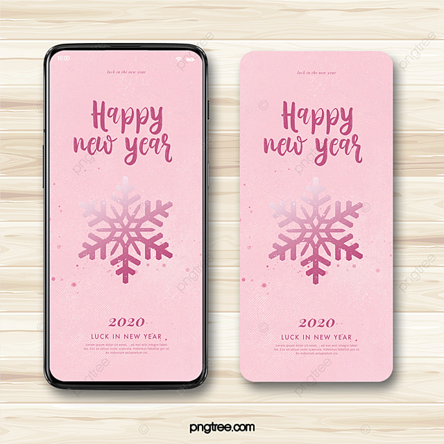 pink simple snowflake happy new year 2020 blessing mobile poster template