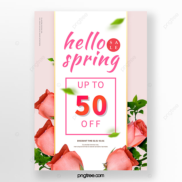 pink spring flowers promotion poster
