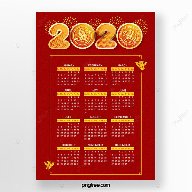 red 2020 festive new year year of the rat chinese new year calendar