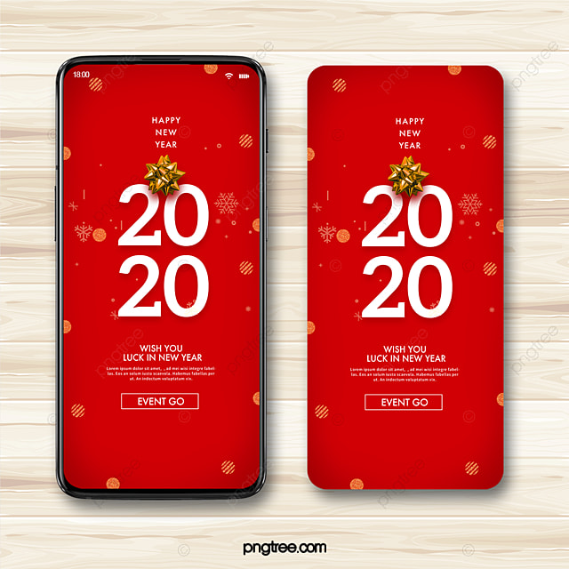 red 2020 new year festive atmosphere mobile promotion template
