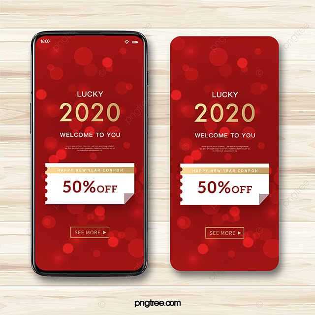 red light shadow 2020 new year blessing promotional coupon mobile template