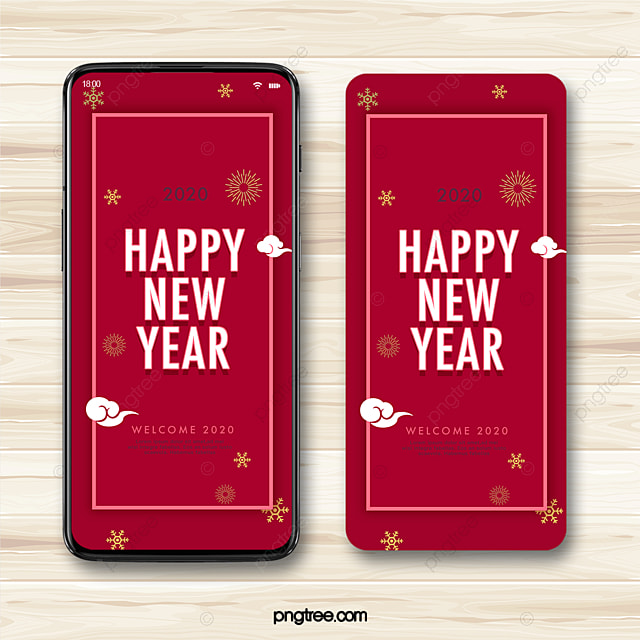 red vintage 2020 new year greeting holiday atmosphere mobile phone template