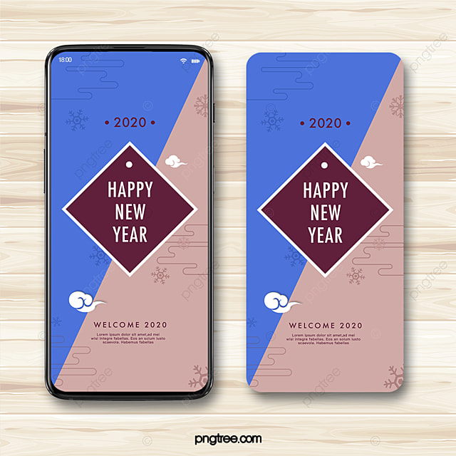 retro hit color 2020 new year festive blessing phone template