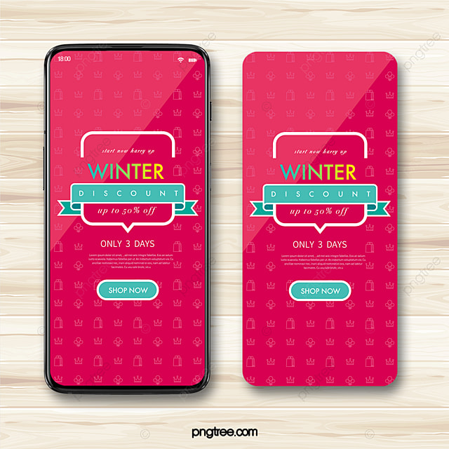 rose red winter mall discount promotion shopping icon mobile phone template