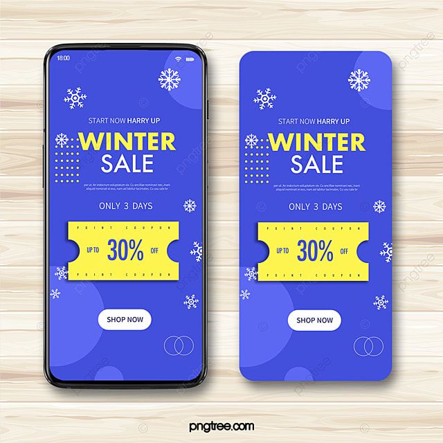 simple geometric style snowflake winter discount coupon mobile promotion template