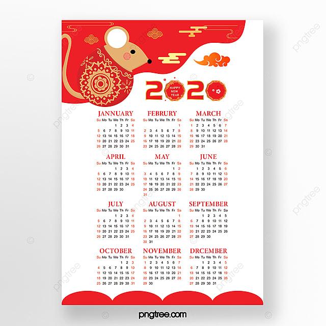 simple red 2020 rat calendar