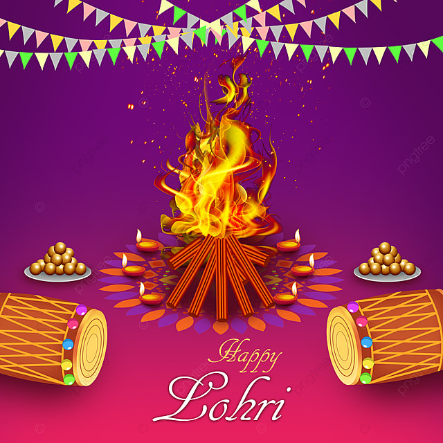 Happy Lohri Harvest Festival Vector Template for Free ...