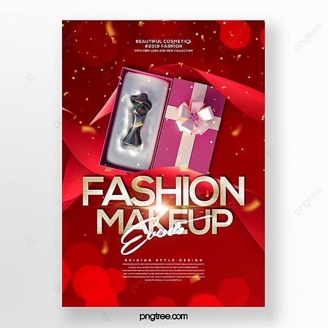 fashion romantic beautiful cosmetics set box promotion poster
