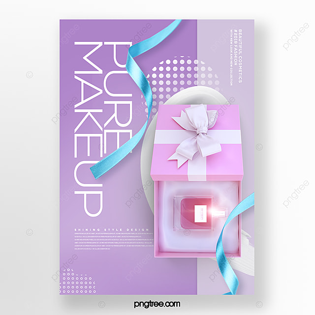 fresh and simple perfume cosmetic box promotion poster