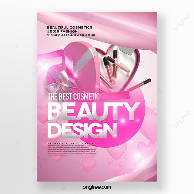 romantic and beautiful cosmetics set box promotion poster