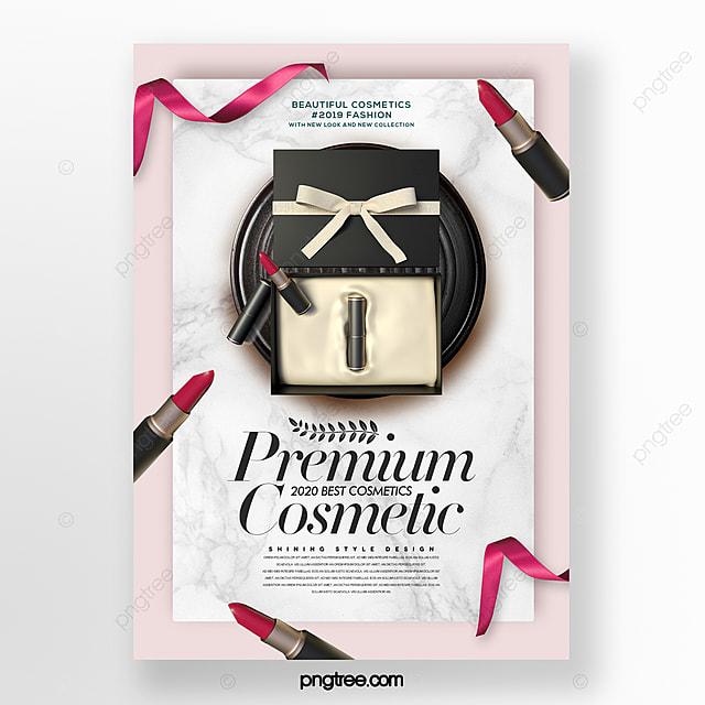 simple modern fashion cosmetics set box promotion poster