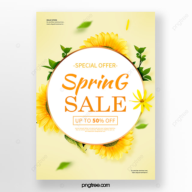 simple yellow spring flower promotion poster