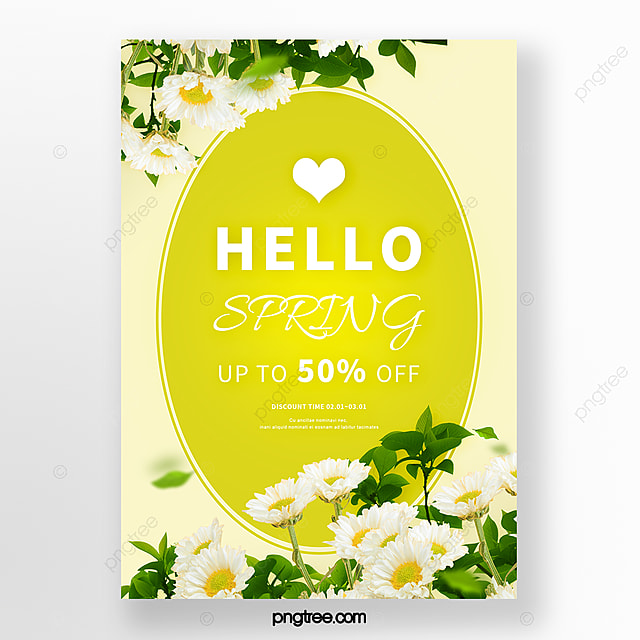 spring yellow fresh flowers promotion poster