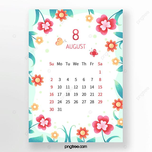 beautiful flower floret butterfly leaf polka dot red orange green august calendar