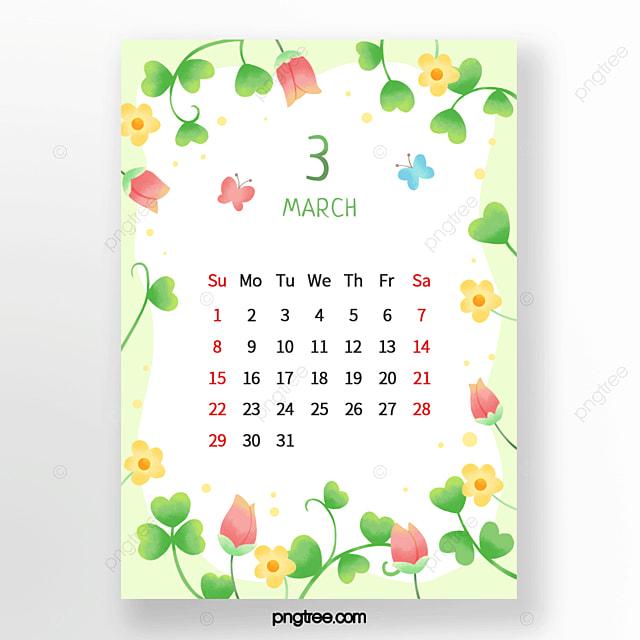 bright flower bud leaf bud floret pink green yellow march calendar