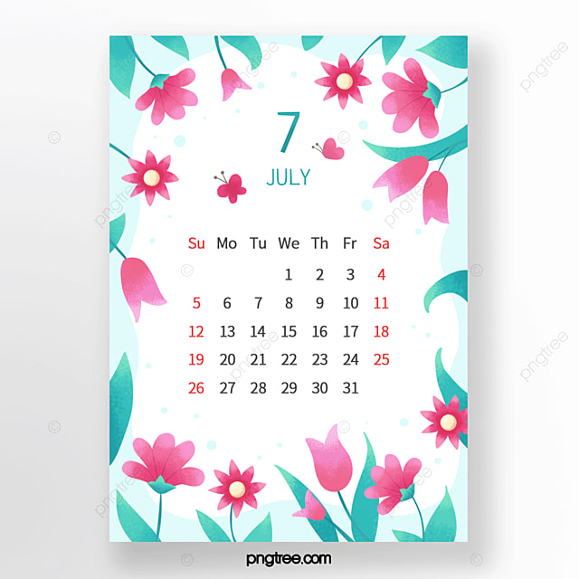 cool flowers butterfly leaves buds pink emerald green july calendar