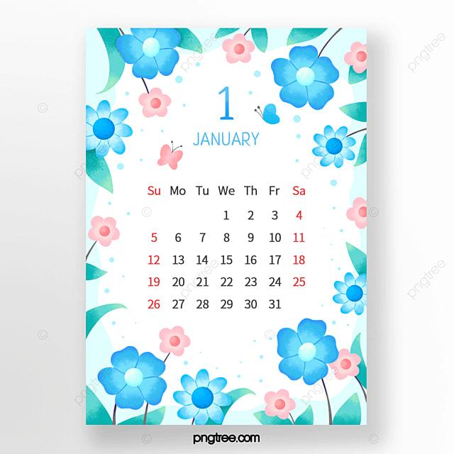 elegant leaf flower butterfly blue green pink january calendar
