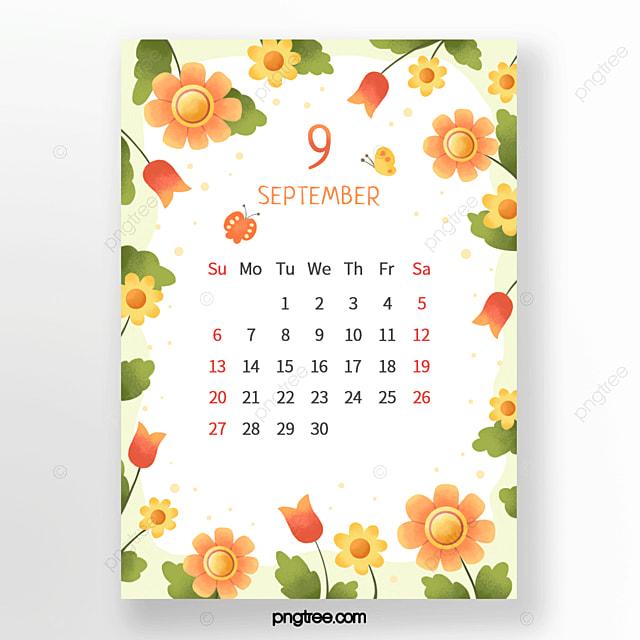 fresh flower bud leaves butterfly red green orange september calendar