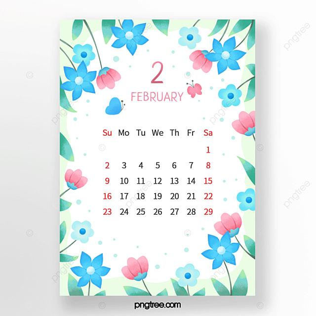 fresh flower bud small flower butterfly leaf blue green pink february calendar