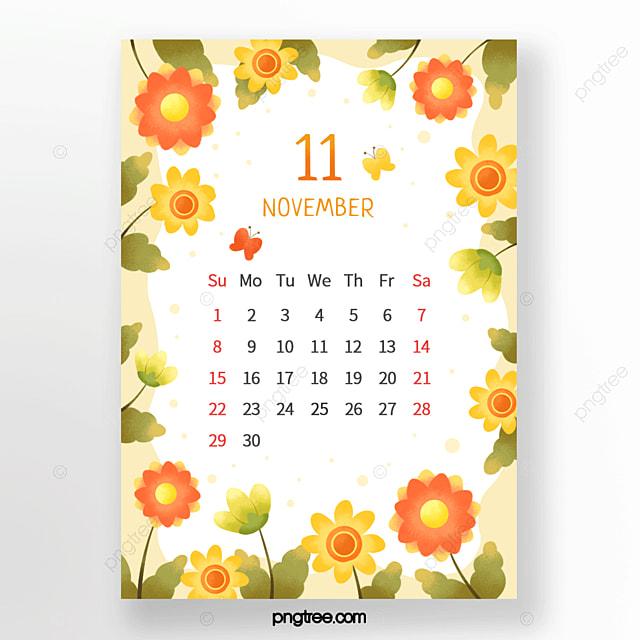passionate flower bud leaf butterfly polka dot orange yellow green november calendar