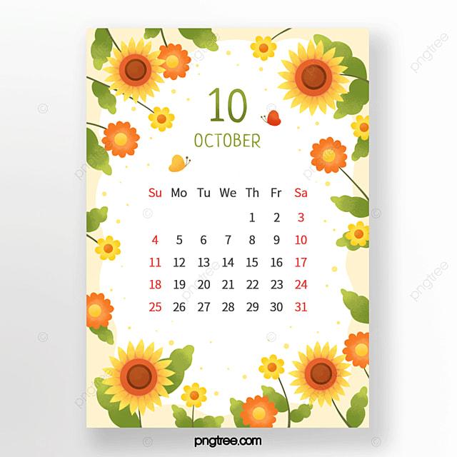 warm sunflower flower small flower leaf butterfly yellow orange green october calendar