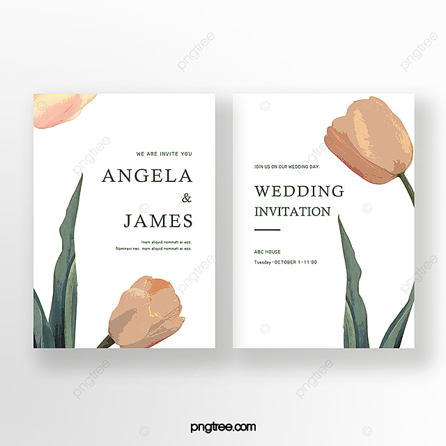 elegant hand painted large flower tulip wedding double sided invitation