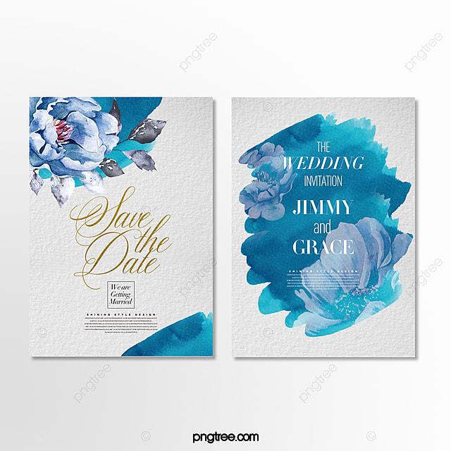 beautiful romantic hand drawn effect flower wedding invitation