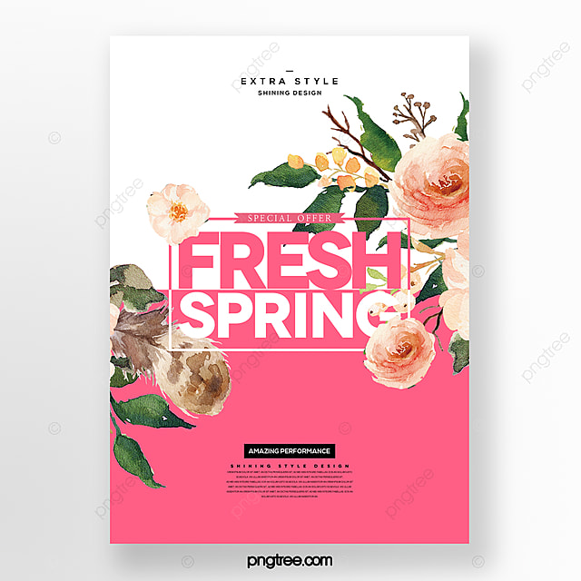 cartoon fashion minimalistic spring flower bouquet commercial promotion poster