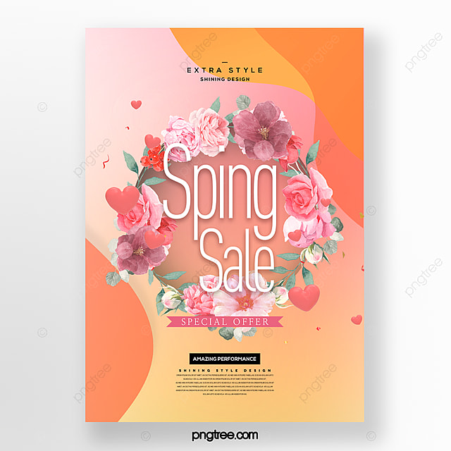 cartoon fresh and simple spring flower bouquet promotion poster
