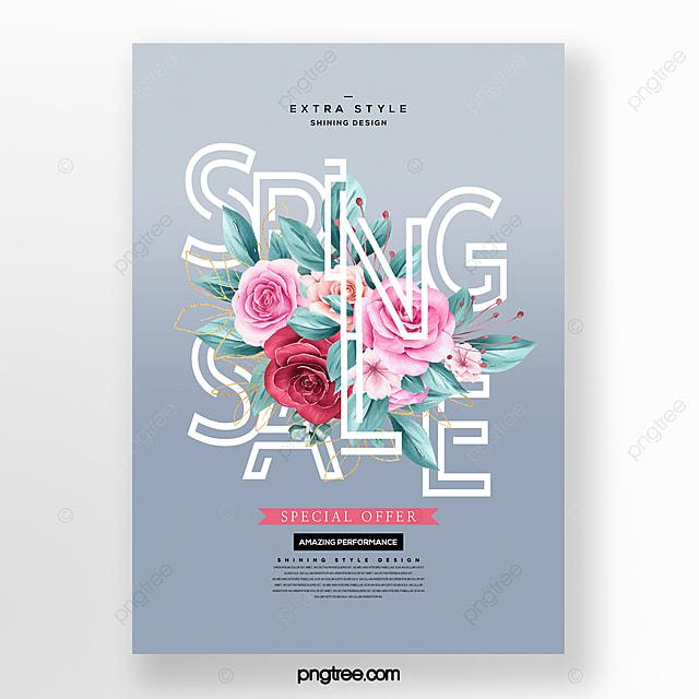 creative fashion cartoon hand drawn spring flowers promo