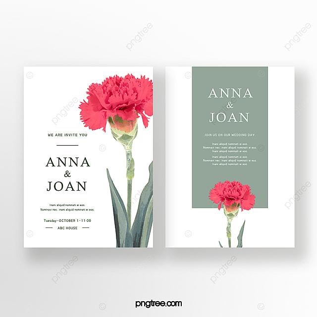 elegant hand painted carnation flower wedding invitation