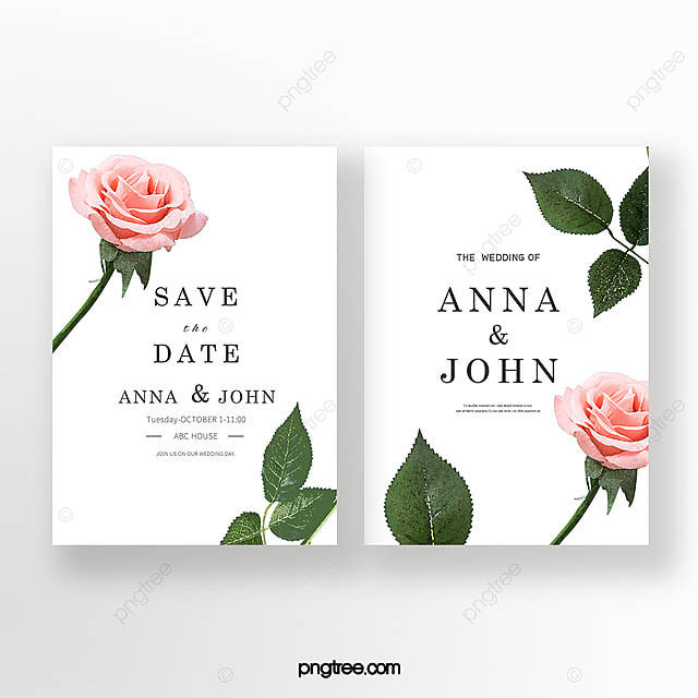 elegant hand painted rose flower wedding invitation